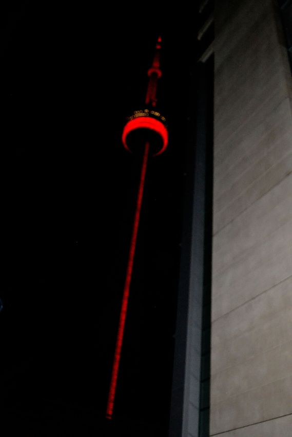 CN Tower lights up the skyline in the back