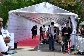 Crew setting up the red carpet