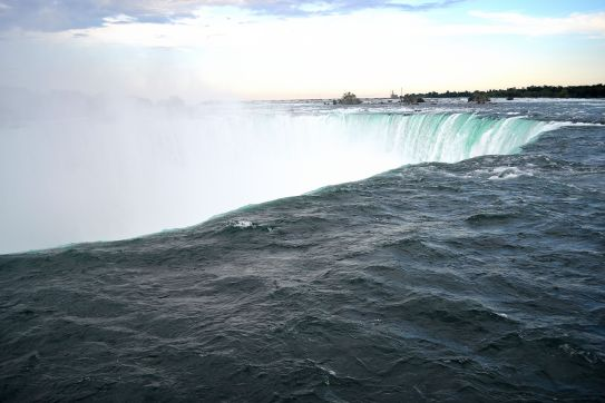 View of the water rushing down the fall