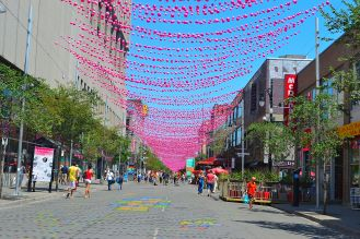 Pink balls during the day at Montreal's Gay Village
