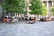 Old Montreal Cobble stone opening for people to relax
