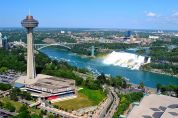 Aerial view of the Canadian and American falls boarder
