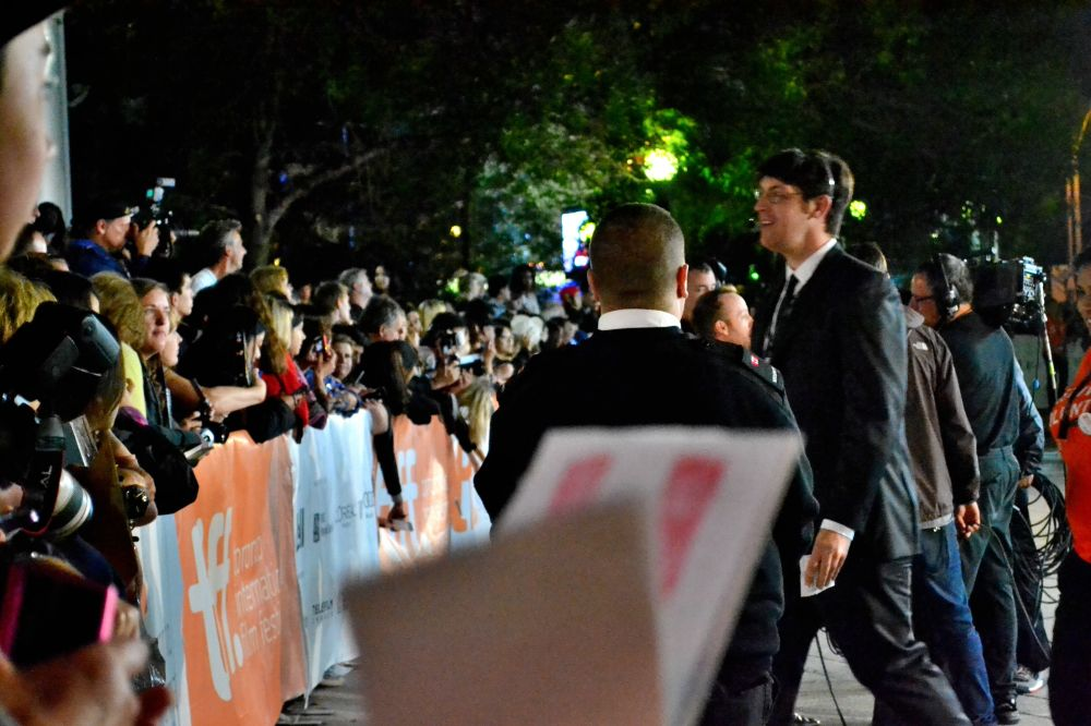 Fans gathered around the red carpet