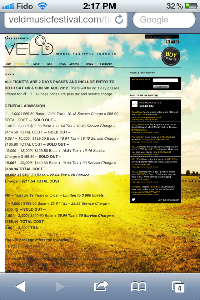 VELD Ticket Prices