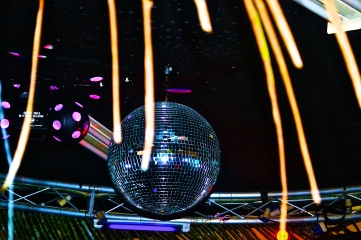 Disco ball hanging over our heads as the party kicks off each night. © Krystal Seecharan