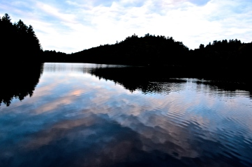 Cloud framed lake, kissed with the setting sun. (c) Krystal Seecharan