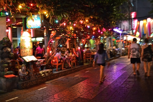 The street lit up at night. (c) Krystal S.