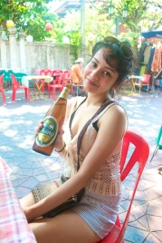Enjoying a Chang beer (c) Krystal S.